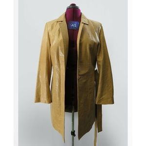 Express Leather long jacket trench coat 13/14 L